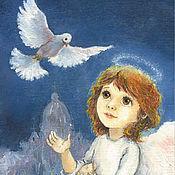 Картины и панно handmade. Livemaster - original item Angel and White Dove Poster for children`s room Reproduction. Handmade.