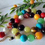 Украшения handmade. Livemaster - original item Beads are rare: 11 kinds of only natural stones of one size 14 mm. Handmade.