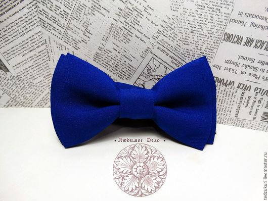 Галстуки, бабочки ручной работы. Ярмарка Мастеров - ручная работа. Купить Галстук-бабочка Синяя/ однотонная бабочка /классическая синяя бабочкав. Handmade.