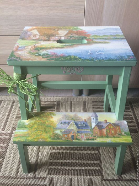 Мебель ручной работы. Ярмарка Мастеров - ручная работа. Купить табурет-лесенка(Лебединое озеро). Handmade. Табурет-стремянка, мятный