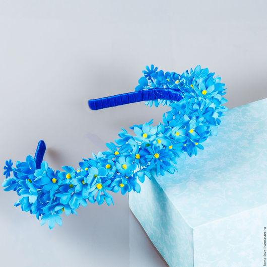 """Повязки ручной работы. Ярмарка Мастеров - ручная работа. Купить Ободок для волос """"Синие цветы"""".. Handmade. Синий, голубой, тычинки"""