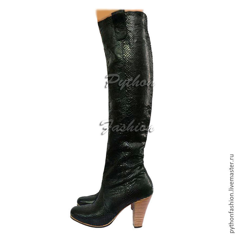 Boots Python skin. Women's boots of the Python on the heel. Author's shoes made from Python. High boots made from Python. Beautiful boots handmade Python skin. Fashion boots with zipper