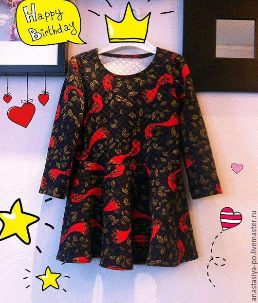 """Одежда для девочек, ручной работы. Ярмарка Мастеров - ручная работа. Купить Детское платье """"Red Birds"""". Handmade. Комбинированный"""