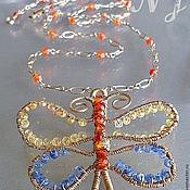 Украшения ручной работы. Ярмарка Мастеров - ручная работа Колье с сапфировой бабочкой Wire Wrap. Handmade.
