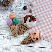 Украшения handmade. Livemaster - original item Ice cream brooch felted. Handmade.