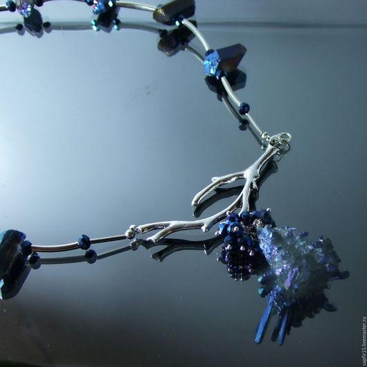 """Колье, бусы ручной работы. Ярмарка Мастеров - ручная работа. Купить Колье""""Упавшая в море звезда""""Кристаллы кварца  с титановым покрытием. Handmade."""