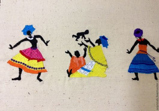 """Люди, ручной работы. Ярмарка Мастеров - ручная работа. Купить Вышитая картина, картинка, панно """"Африканское племя"""" разные. Handmade."""
