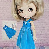 Куклы и игрушки handmade. Livemaster - original item Bright blue summer dress for Blythe. Handmade.