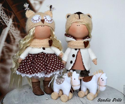 Куклы тыквоголовки ручной работы. Ярмарка Мастеров - ручная работа. Купить Близняшки с коняшками. Handmade. Бежевый, кукла для девочки
