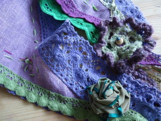 Шали, палантины ручной работы. Ярмарка Мастеров - ручная работа. Купить Бохо косынка Фиолетово-зелёная. Handmade. Сиреневый, подарок
