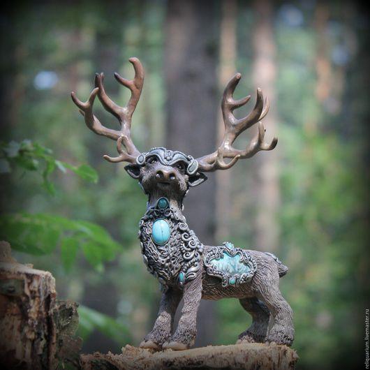 Сказочные существа ручной работы Толгай – житель Лунных гор  Ярмарка мастеров - handmade,ручная работа Купить авторская игрушка (фигурка),статуэтка олень, сказочный олень livemaster.ru/reliquarium