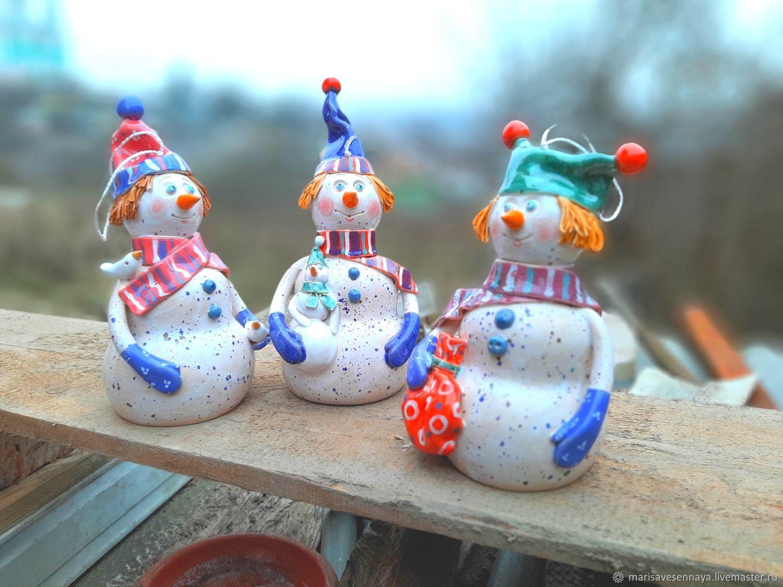 Snowman. Pottery, moulded by hand, Snowmen, Smolensk,  Фото №1