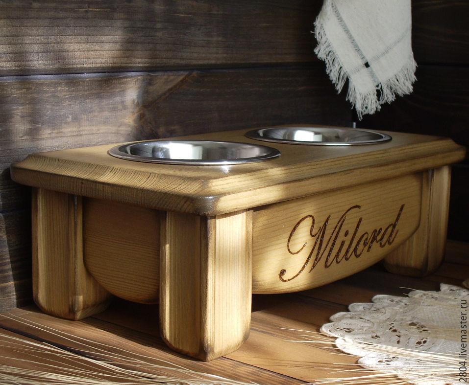 Аксессуары для собак, ручной работы. Ярмарка Мастеров - ручная работа. Купить Миски на подставке Мебель для собак. Handmade. Аксессуары для кошек