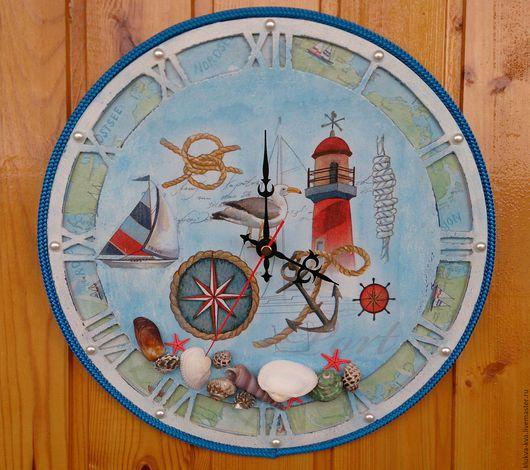 Часы для дома ручной работы. Ярмарка Мастеров - ручная работа. Купить Часы в морском стиле. Handmade. Голубой, Декупажная салфетка