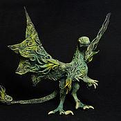 Сувениры и подарки ручной работы. Ярмарка Мастеров - ручная работа Зеленый  дракон - динозавр фигурка дракончик синий. Handmade.