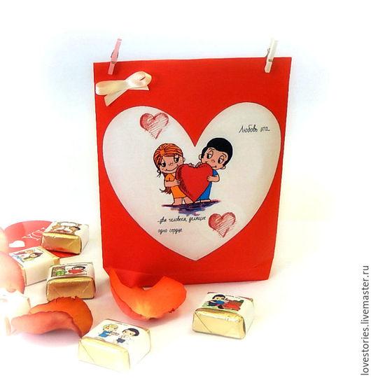 Подарки для влюбленных ручной работы. Ярмарка Мастеров - ручная работа. Купить Набор конфет Love is.... Handmade. Ярко-красный