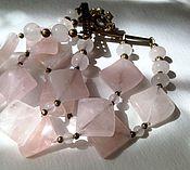 Bead bracelet handmade. Livemaster - original item Bracelet Delicate squares. Rose quartz, brass. Handmade.