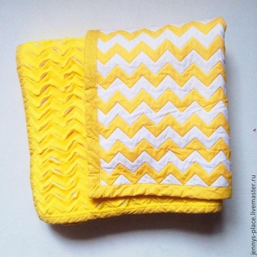 """Пледы и одеяла ручной работы. Ярмарка Мастеров - ручная работа. Купить Одеялко """"Желтый шеврон"""". Handmade. Желтый, одеяло детское"""