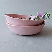 Посуда ручной работы. Ярмарка Мастеров - ручная работа Розовые блюдца из фарфора. Handmade.