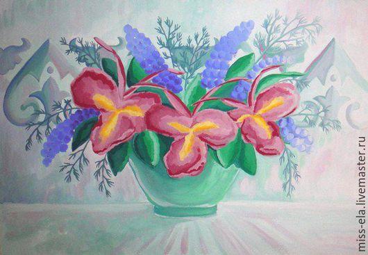 """Этно ручной работы. Ярмарка Мастеров - ручная работа. Купить Картина """"Розовые ирисы"""". Handmade. Розовый, этнопано, этнокартина, цветы"""