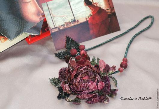 Кулоны, подвески ручной работы. Ярмарка Мастеров - ручная работа. Купить Подвеска - браслет ,,Бургундская роза,,. Handmade. Зеленый, цветы