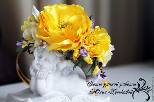 Диадемы, обручи ручной работы. Ярмарка Мастеров - ручная работа. Купить Ободок  с цветами. Handmade. Ободок для волос, цветы из ткани
