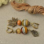 Украшения handmade. Livemaster - original item Autumn Leaf Fall Asymmetric Lampwork Brass Earrings. Handmade.