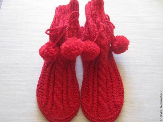 Носки, Чулки ручной работы. Ярмарка Мастеров - ручная работа. Купить Вязаные носки Уютные. Handmade. Фиолетовый, красный