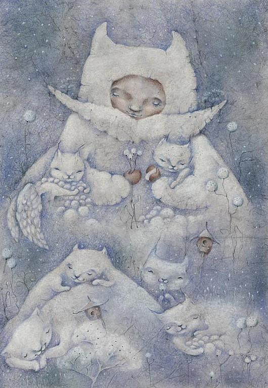 Картина снежная-нежная сказка