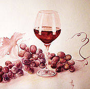 Картина вином Виноградная лоза