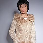 Одежда handmade. Livemaster - original item Beige jacket with fur. Handmade.