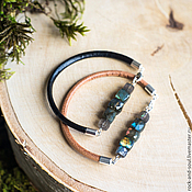 Украшения handmade. Livemaster - original item Bracelet with labradorite, leather, Bracelet made of natural stones,. Handmade.
