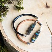 Украшения ручной работы. Ярмарка Мастеров - ручная работа Браслет из натуральных камней, кожаный браслет с лабрадоритом. Handmade.
