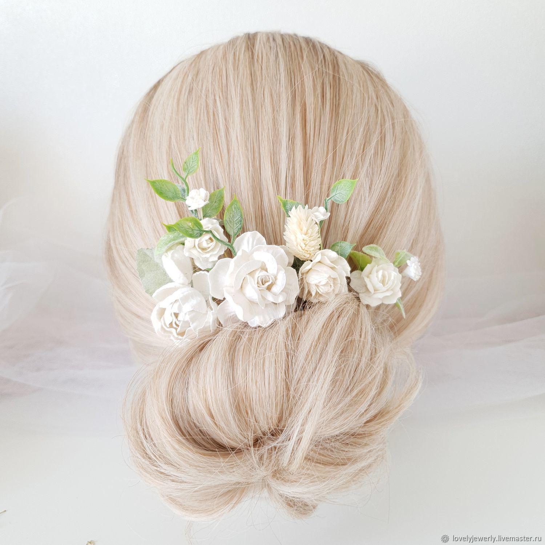 Шпильки в прическу белые  Flowers, Украшения, Краснодар, Фото №1