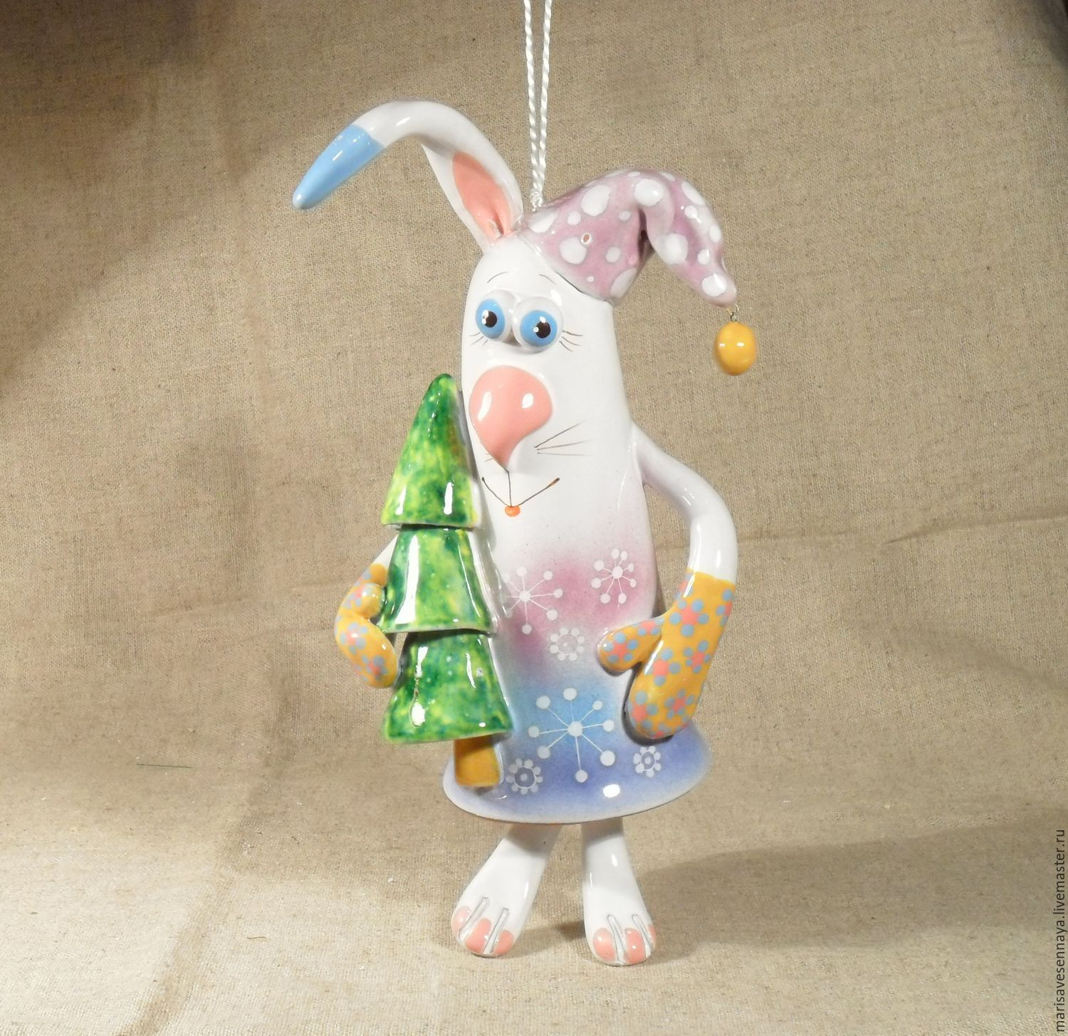 Ceramic Bunny Bell With Christmas Tree Shop Online On Livemaster