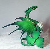 Украшения ручной работы. Ярмарка Мастеров - ручная работа браслет-дракон Клевер дух цветов браслет из кожи в резерве. Handmade.