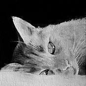 Картины и панно ручной работы. Ярмарка Мастеров - ручная работа Готовясь ко сну (10 х 10 см). Handmade.