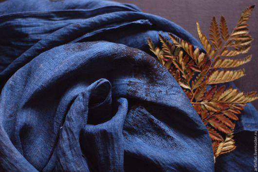 Льняной шарф индиго мужской