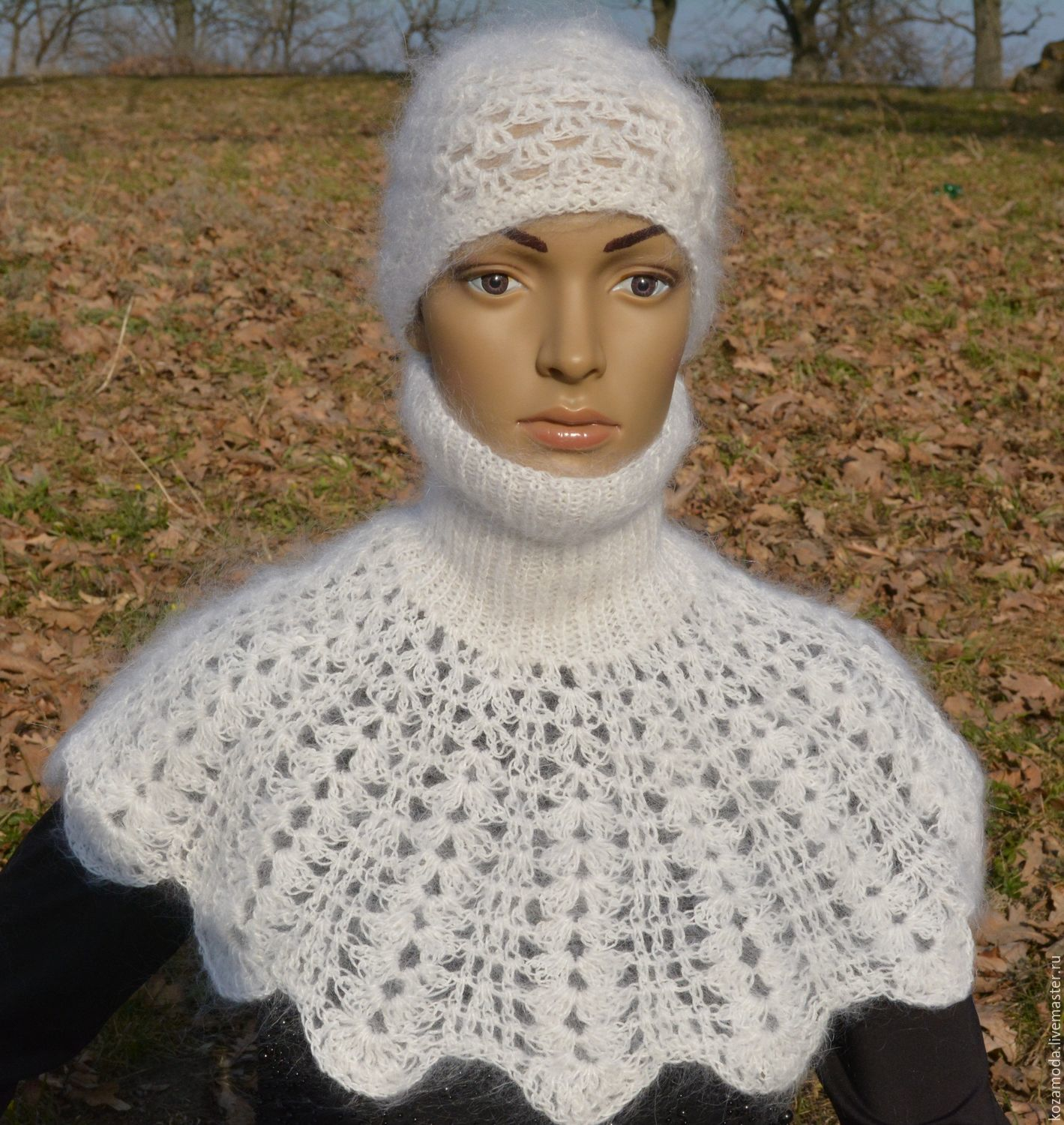 Shirt front downy white knitted openwork warm 100% downy yarn, Dickies, Urjupinsk,  Фото №1