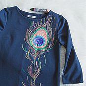 Одежда ручной работы. Ярмарка Мастеров - ручная работа платье Перо павлина. Handmade.