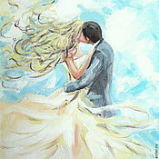 Картины и панно handmade. Livemaster - original item Oil painting on canvas. Love above the clouds. Handmade.