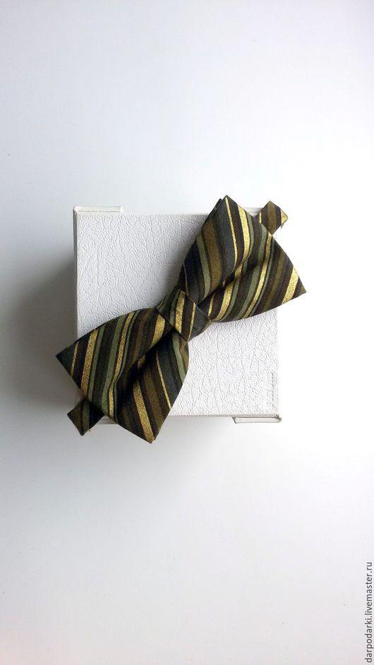 """Галстуки, бабочки ручной работы. Ярмарка Мастеров - ручная работа. Купить Галстук бабочка """"Зеленый коричневый золотой """" брошь бабочка. Handmade."""