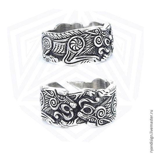 Кольцо серебряное Волки Одина мужское женское подарок мужчине женщине