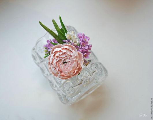"""Заколки ручной работы. Ярмарка Мастеров - ручная работа. Купить Зажим """"Цветочный"""". Handmade. Комбинированный, зажим с цветами, лавандовый"""