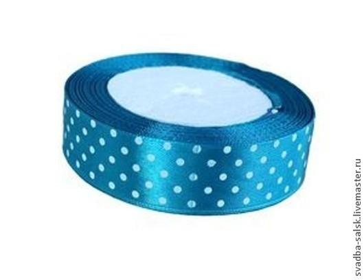 Шитье ручной работы. Ярмарка Мастеров - ручная работа. Купить Лента атласная ярко-голубой в горох 25 мм. Handmade.