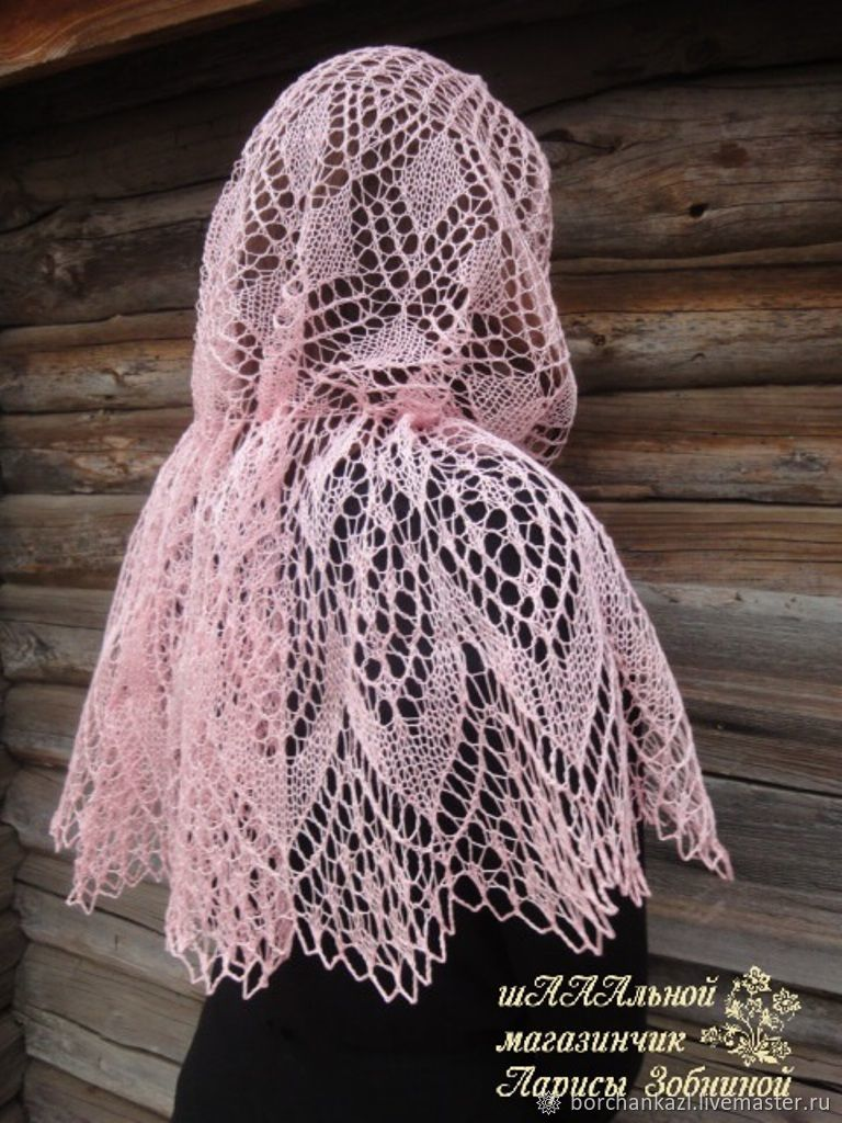 Shawl shawl in the temple of the Morning haze don linen handkerchief, Shawls, Borskoye,  Фото №1