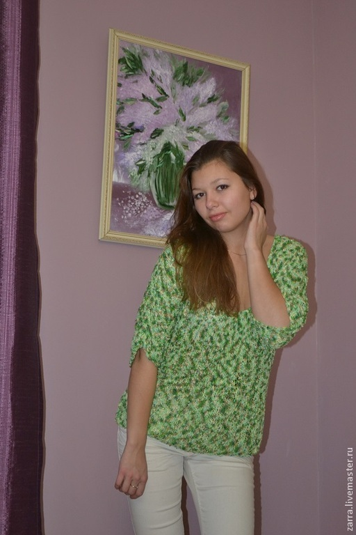 """Блузки ручной работы. Ярмарка Мастеров - ручная работа. Купить Блузка """" Песня жаворонка"""". Handmade. Зеленый, зеленая блузка"""