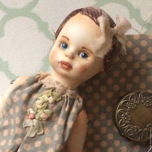 Коллекционные куклы ручной работы. Ярмарка Мастеров - ручная работа. Купить Куколка болтушка Ната. Handmade. Голубой, кукла болтушка