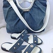 Обувь ручной работы handmade. Livemaster - original item Summer denim kit bag and clogs. Handmade.