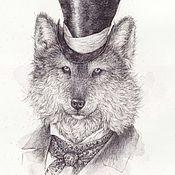 Картины и панно ручной работы. Ярмарка Мастеров - ручная работа Волк. (В частной коллекции). Handmade.